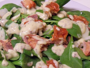 Smoked Salmon and Spinach Salad with Honey Mustard Dressing