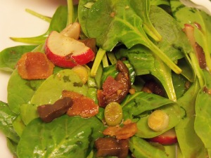 Wilted Bacon Spinach Salad